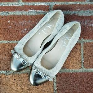AGL Silver Cap Toe Ballet Flats